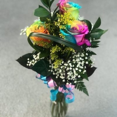 Rainbow Rose Arrangement