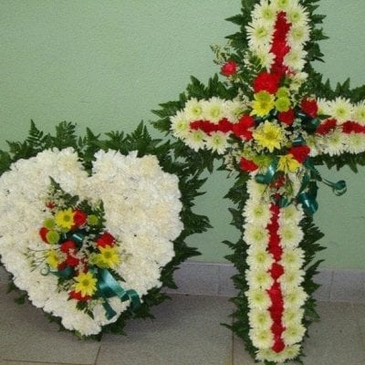 Wreath Combo-  16″ Heart & 24″ Cross-